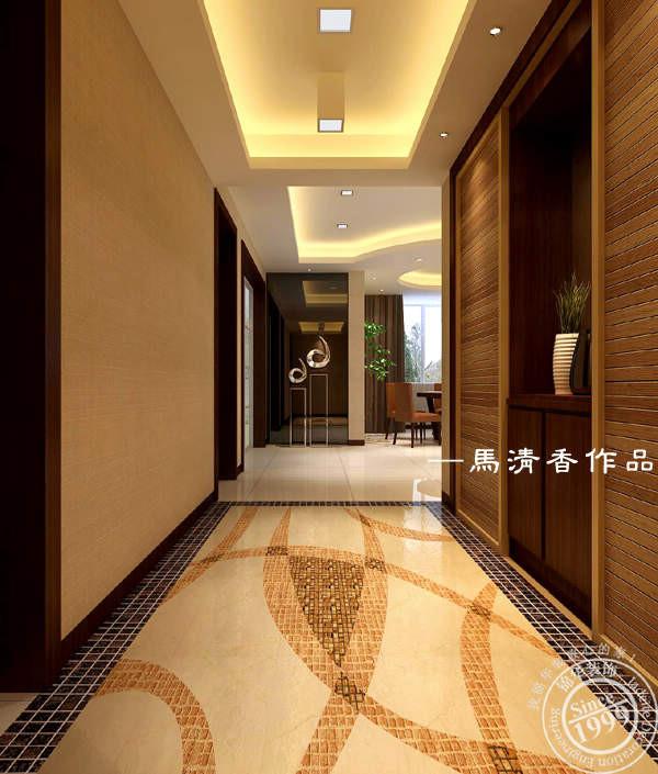 走廊玄关装修效果图 简约中式气质的玄关,棕色优雅大方.地