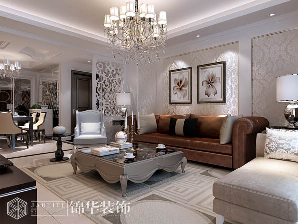 红豆国际a区135平简欧风格效果图装修图片-三室两厅