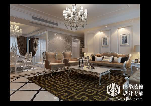 客厅吊顶叠阶和石膏线线条