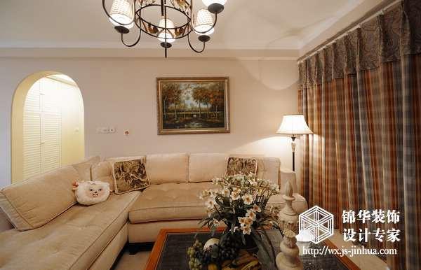 金域蓝湾100平三室两厅美式风格实景样板间装修图片