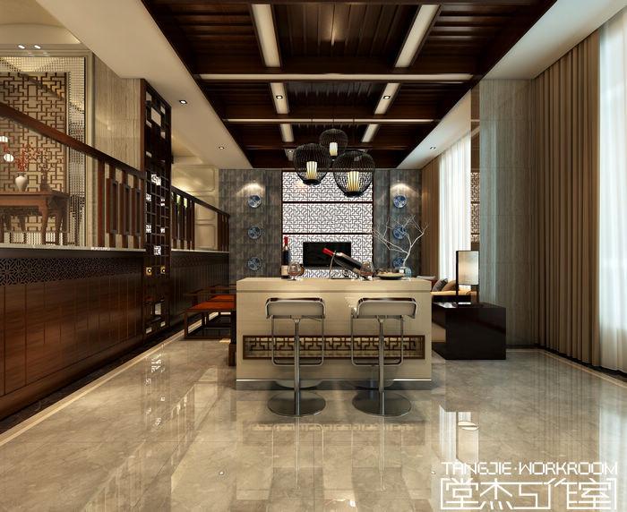 香梅花园427平新中式风格别墅效果装修图片-别墅图