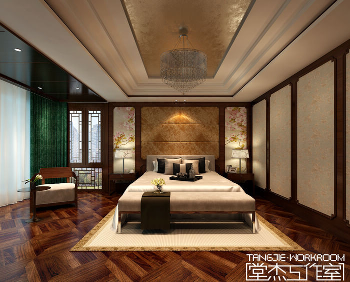 香梅花园427平新中式风格别墅效果图 设计图片展示
